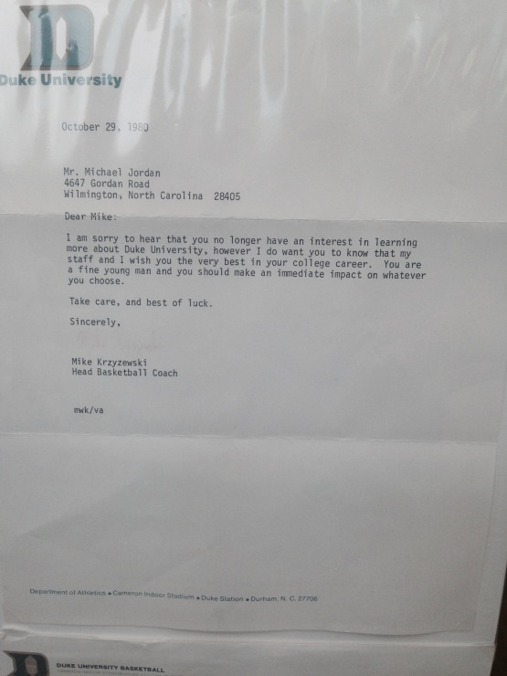 Coach K's letter to MJ after Jordan picked the rival