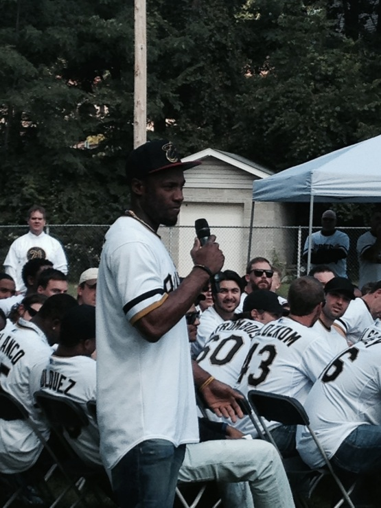 Former Power outfielder Starling Marte during Q&A with the students.